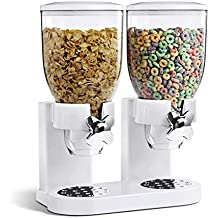 SQ Professional Dispensador doble para cereales y otros alimentos, de plástico, color blanco