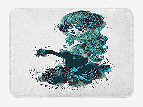BALAETI Skull Bath Mat, Vintage Sugar Skull Girl Day of The Dead Bride with Dark Color Roses Graphic, Plush Bathroom Decor Mat with Non Slip Backing, 23.6 W X 15.7 W inches, Petrol Blue White
