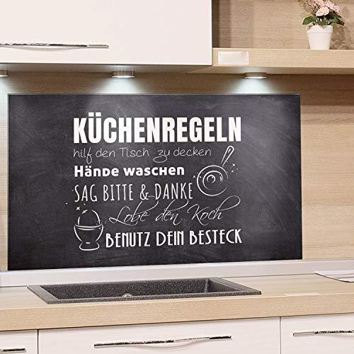 GRAZDesign Glasplatte Küche Küchensprüche, Spritzschutz Küche Glas Küchenmotiv, Wandpaneele Küche Steinoptik, Küchenrückwand Glas Küchenregeln / 80x40cm