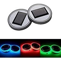 kekai 2 unids Car Cup Posavasos Mats Holder Pad, Panel Solar o USB Recargable LED Sensor de Luz Impermeable Interior del Coche Decoración Luces Lámpara, Luz de Colores