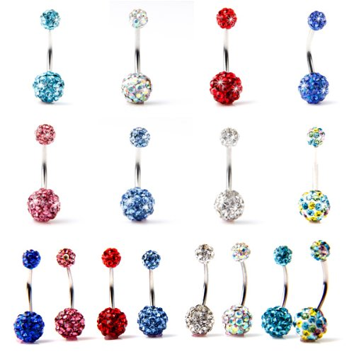 8 Color for Choose Belly Ring Double Ball Full Swarovski Crystals Belly Button Rings Navel Bar 14G (1.6mm) 7/16