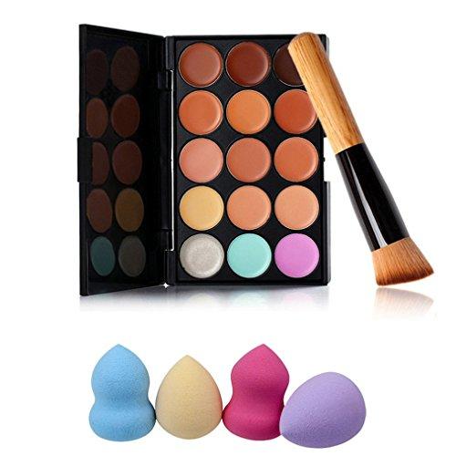 Pure Vie® 1 Pcs Pinceaux Maquillage Trousse + 4 Éponge Fondation Puff + 15 Couleurs Palette de Maquillage Correcteur Camouflage Crème Cosmétique Set - Convient Parfaitement pour une Utilisation Professionnelle ou à la Maison
