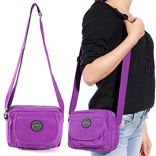 Anladia Nylon Umhaengetasche Messenger Tasche Schultertasche Damen Einkaufstasche Stofftasche lila lila