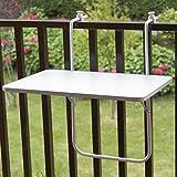 Klappbarer Balkonhängetisch mit stabilem Stahlrohrgestell (Weiß) 60x40x68cm
