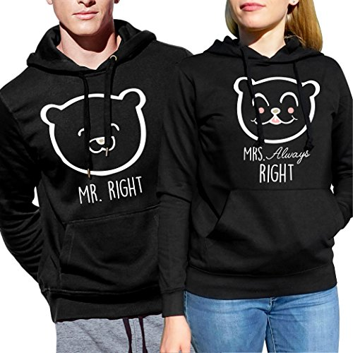 *VivaMake® Partner Pullover Für Mann & Frau Mr Right and Mrs Always Right aus Partner Hoodies Kollektion*