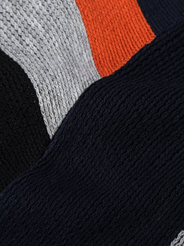 BAISHENGGT Damen Bohemian Streifen Capes V-Kragen Umhang Poncho Orange-Blau