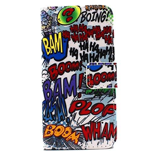 iPhone 6S Plus Hülle,iPhone 6 Plus Ledertasche,Sunroyal Kunstleder Flip Case Schutzhülle Rot Blau Cool Elegant Retro Cartoon Baum Muster Painted PU Leder Wallet Case Flip Cover im Bookstyle Handytasch Graffiti