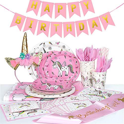 MOOKLIN ROAM Décoration de fête d'anniversaire, 112pcs Licorne Articles de Fête Set Comprenant Bannière Assiette en Papier Tasse Serviettes Nappe pour 12 invités pour Mariages Anniversaires