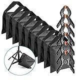 Neewer 8 Stück Schwer Duty Sandsack (schwarz) für Fotostudio Lichtständer Auslegerarme mit 6 Stück Hintergrund Klemmzwingen (leeren Sandsack)