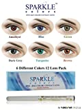 #4: New Sparkle One-day Rainbow(Amethyst, Blue, Brown, Dark Grey, Green, Turquoise Colors) Zeropower Contact Lens with Free Eye/Lip Liner (12 Lens Pack) By Visions India.