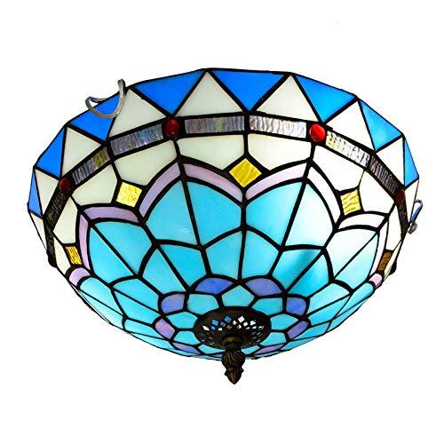 kemeng Vintage Tiffany Style Deckenleuchte, 12 Zoll mediterranen Glasmalerei Restaurant Decke Pendelleuchten, für Schlafzimmer, Kücheninsel, Korridor, Balkon -