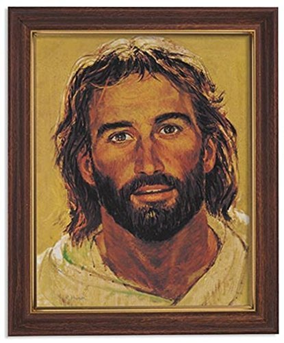 gerffert Collection Jesus Christus gerahmt mit Portrait Print, 33 cm, metall, Wood Tone Finish Frame, 11 x 13 Inch - Print Finish