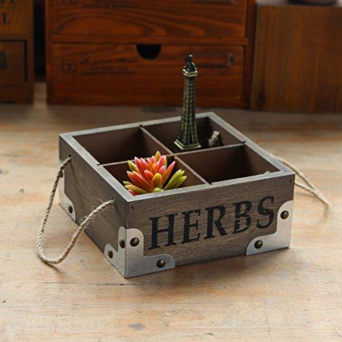 E-meoly en bois Jardinière carrée rustique Fleurs Jardinière 4 unités conteneurs avec poignées en corde tressée
