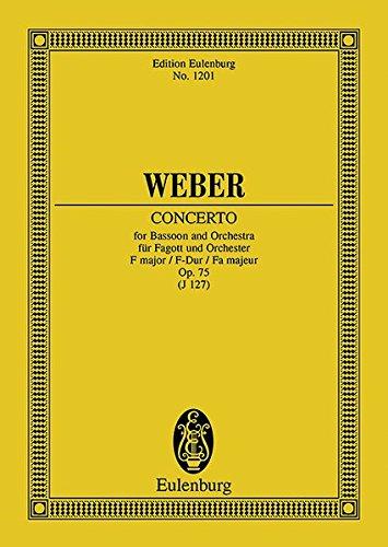 Konzert F-Dur: op. 75. JV 127. Fagott und Orchester. Studienpartitur. (Eulenburg Studienpartituren)