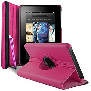 Kindle Fire HD Pink Leather 360° Rotating Stand Case / Cover + Tab Stylus Pen By Sunwire® (Version 1 2012)