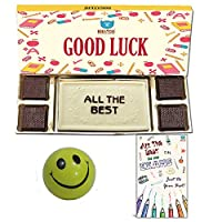 BOGATCHI Good Luck Chocolate Gift Box, Exam Wishes, White Chocolate Bar + 4 pcs + Free Best of Luck Exams Card + Smiley Ball