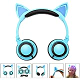 Fashional Cat Ear Headphones, IPRO Cat Earphone-LED Glowing Cat Ear Head Phone-Cute Headphone For Computer,Tablet,Phone,MP3,MP4,etc-Blue