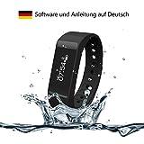 Surwin Fitness tracker - Aktivitäts-/Schlaftracker - Sport Schrittzähler - smart bracelet für Android Smartphone und iPhone (Schwarz)