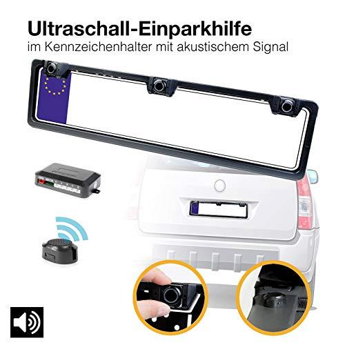 Funk Einparkhilfe mit 3 lackierten PDC Ultraschall Sensoren integriert im Kennzeichen Nummernschild Kennzeichenhalterung kabellos hinten schwarz lackiert mit Farb Display zum nachrüsten ohne bohren