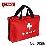 First Aid Kit di pronto soccorso con 107 pezzi reparti multipli compatto e professionaleper casa, ufficio, auto, roulotte, viaggi, campeggio (approvato CE/FDA)