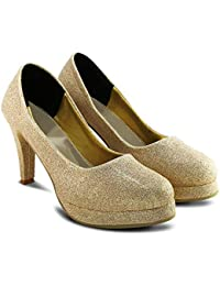 f28d9528ff Gold Women's Pumps: Buy Gold Women's Pumps online at best prices in ...