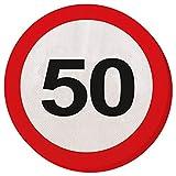 Folat - Party Servietten Verkehrsschild - 50 Jahre - (4 x 20 Stk.)