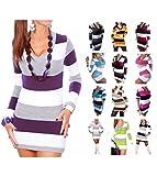 CELEB LOOK N38 New Womens Celebmodelook Ladies Full Length Striped V-Neck Knitted Jumper Dress