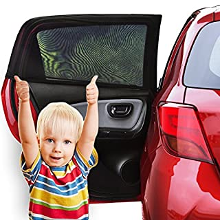 Sonnenschutz Auto Baby (2 Stück) - Sonnenblende Auto mit UV Schutz für Kinder, Hund im Rücksitz - Einfache und schnelle Anbringung an den ganzen Seitenfenster ohne Saugnapf - Sonnenschutz, dank faltbares Meshmaterial passt genau an den Seitenscheiben