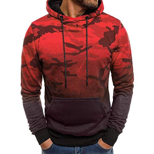 MRULIC Herren Langarm Camouflage Hoodie Sweatshirt Tops Oberbekleidung Kapuzenpulli mit Taschen ()