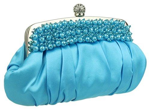Girly HandBags Neu beige Perlen Perlen Unterarmtasche Abendtasche Diamanten Blumen, Grün, Rot Silber Lblue