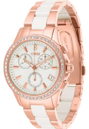 CHRIST times Damen-Armbanduhr bicolor (gold/rosé/silber) Keramik Analog Quarz One Size, perlmutt, rosé/weiß