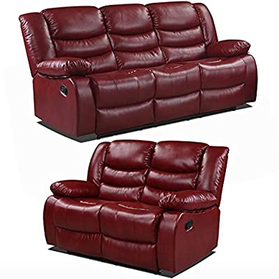 Belfast Cranberry Red Reclining Sofas 3 and 2 Seater Recliner Sofas (All Combinations Available) by Simply Stylish Sofas