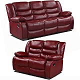 Belfast Cranberry Red Reclining Sofas (All Combinations Available) (3+2 Seater Sofa Set)