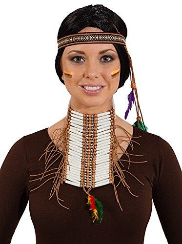 Kostüm Indianer Brustpanzer - Indianer Brustschmuck m. Perlen und Band