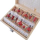 """12 tlg. Fräsen Set Router Set in Holz Box 1/4"""" (6.35mm) Schaftdurchmesser Fräsersatz Profilfräser Hartmetallfräser Holzschneider Holzbearbeitung Fräsen Werkzeug"""