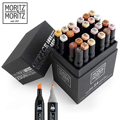 Moritz & Moritz Set con 24 Marcadores de Fibra Touch Twin Marker - Tono de Piel - para Diseño, Bocetos, Ilustraciones, Dibujo