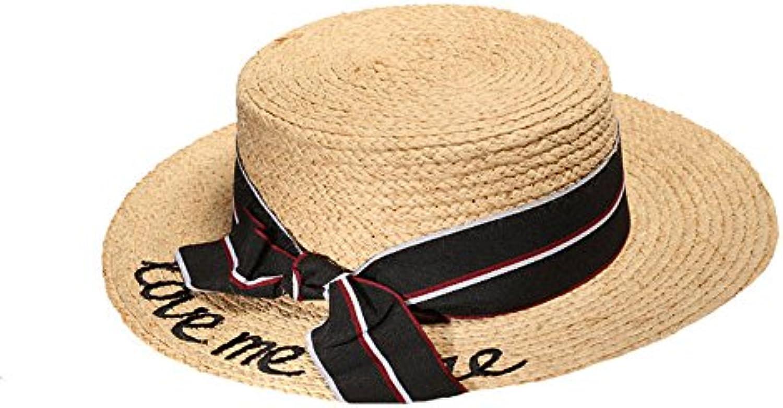 GAOQQ Cappellino da Spiaggia Vacanze Cappello Estivo Ricamato Piatto Dolce  Piatto Ricamato Lettere Lettere Rafia Cappello f808917ced69