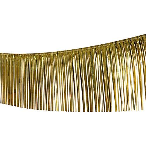 Lametta Girlande Party Deko Girlanden Folie Weihnachten Fransengirlande Silvester Foliengirlande VIP Raumdeko Raum Dekoration Partydeko (gold)