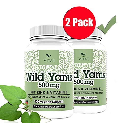 VITA1 Wild Yams Wurzelextrakt 500mg 2er Pack 240 Kapseln (2 Monate Vorrat) • Vegan mit Vitamin C & Zink • Hergestellt in Deutschland