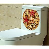 "BIBITIME Bathroom Toilet Seat Cover Decals Sticker Vinyl Toilet Lid Decal Decor (12.99"" x 15.35"", Many Starfish)"