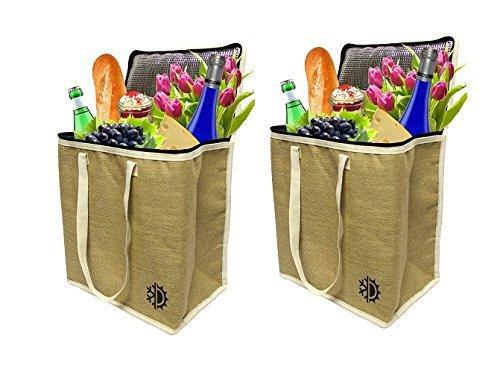 Earthwise borse per shopping e spesa isolate in iuta con coperchio con cerniera, termiche, frigo, modello tote, mantiene i cibi caldi o freddi (set da 2), naturale