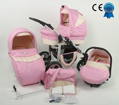 Poussette combinée rose et crème 3 en 1 cuir écologique avec poussette+nacelle+siège auto+sac à langer+ombrelle offerte