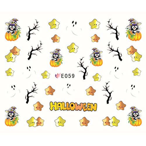 msmask Halloween Nail Art Maniküre Aufkleber Floral Krone Totenkopf Kürbis Festival Ghost