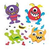"""Fingerpuppen-Bastelsets """"Monster"""" aus Moosgummi für Kinder zum Dekorieren und Spielen (6 Stück)"""