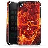 DeinDesign Coque Compatible avec Apple iPhone 3Gs Étui Housse Tête De Mort Feu Rocker