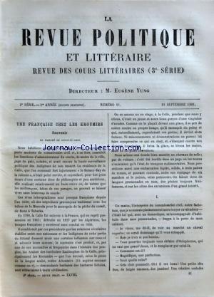 REVUE POLITIQUE ET LITTERAIRE (LA) [No 11] du 10/09/1881 - REVUE DES COURS LITTERAIRES - 3EME SERIE UNE FRANCAISE CHEZ LES KROUMIRS - LE MARCHE DE SOUCK-EL-ARBA MARK RUTHERFORD PAR ARVEDE BARINE ALGERIE - LES RESERVES
