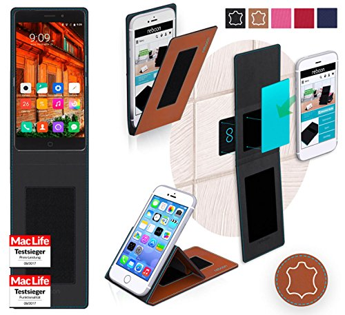 reboon Hülle für Elephone P9000 Lite Tasche Cover Case Bumper | Braun Leder | Testsieger