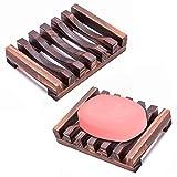 Wskderliner Seifenschale Holz Seifenhalter Natürlicher aus Holz Badezimmer Dusche Packung von 2 (Holz)