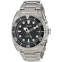 Seiko SKA371P1 - Reloj analógico de caballero de cuarzo con correa de acero inoxidable plateada - sumergible a 200 metros
