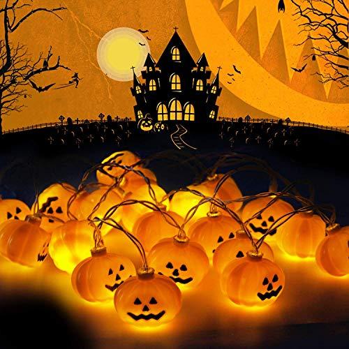Luci di zucca di halloween, le lampade a corda jack-o-lantern da 2,5 m 3d contengono una zucca di 20 led, per halloween, festival, decorazioni per feste (bianco caldo)